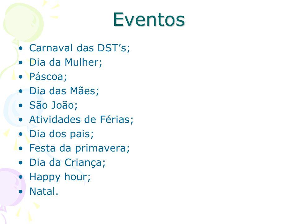 Eventos Carnaval das DSTs; Dia da Mulher; Páscoa; Dia das Mães; São João; Atividades de Férias; Dia dos pais; Festa da primavera; Dia da Criança; Happ
