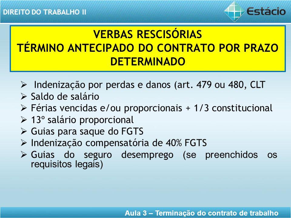 DIREITO DO TRABALHO II Aula 3 – Terminação do contrato de trabalho VERBAS RESCISÓRIAS TÉRMINO ANTECIPADO DO CONTRATO POR PRAZO DETERMINADO Indenização