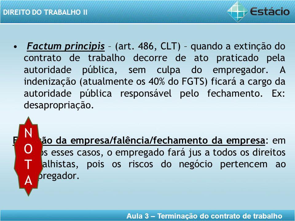 DIREITO DO TRABALHO II Aula 3 – Terminação do contrato de trabalho Factum principis – (art. 486, CLT) – quando a extinção do contrato de trabalho deco
