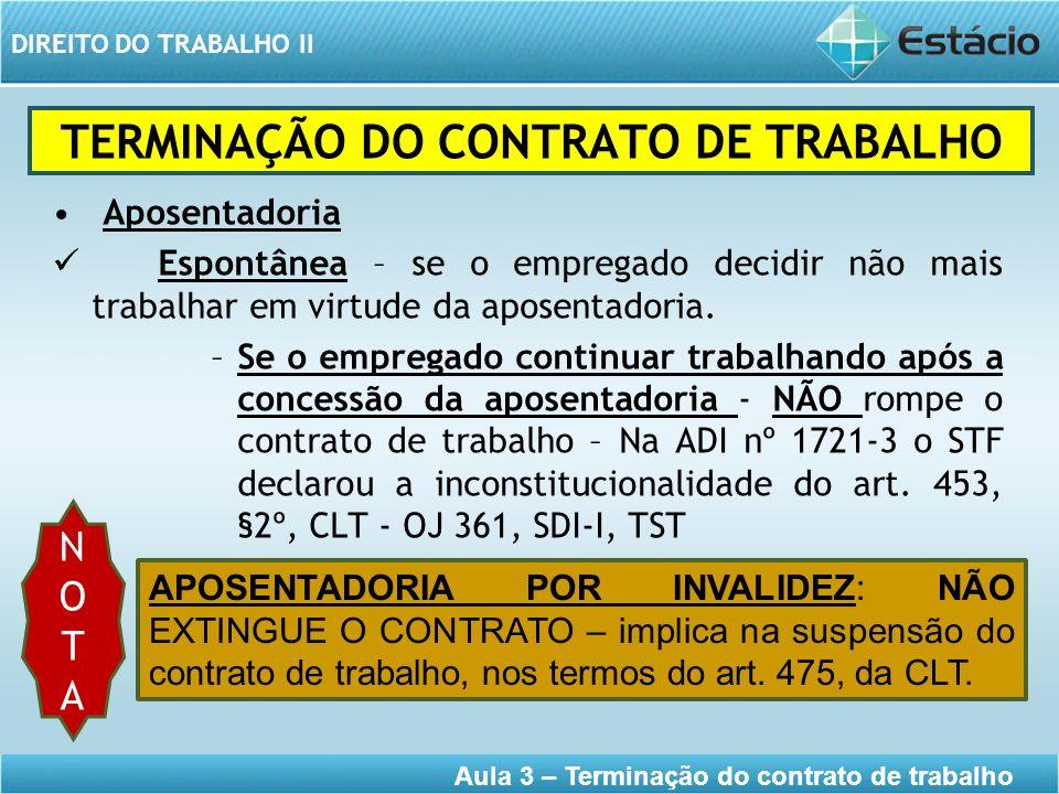 DIREITO DO TRABALHO II Aula 3 – Terminação do contrato de trabalho Aposentadoria Espontânea – se o empregado decidir não mais trabalhar em virtude da