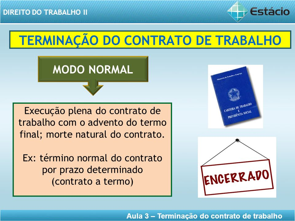 DIREITO DO TRABALHO II Aula 3 – Terminação do contrato de trabalho TERMINAÇÃO DO CONTRATO DE TRABALHO Execução plena do contrato de trabalho com o adv