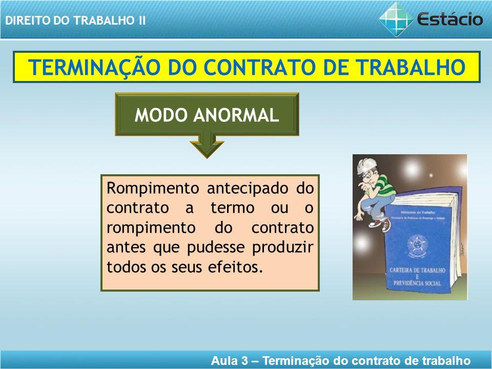 DIREITO DO TRABALHO II Aula 3 – Terminação do contrato de trabalho TERMINAÇÃO DO CONTRATO DE TRABALHO Rompimento antecipado do contrato a termo ou o r
