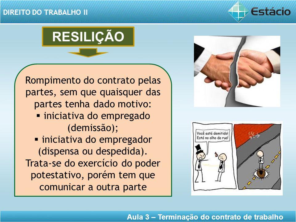 DIREITO DO TRABALHO II Aula 3 – Terminação do contrato de trabalho RESILIÇÃO Rompimento do contrato pelas partes, sem que quaisquer das partes tenha d