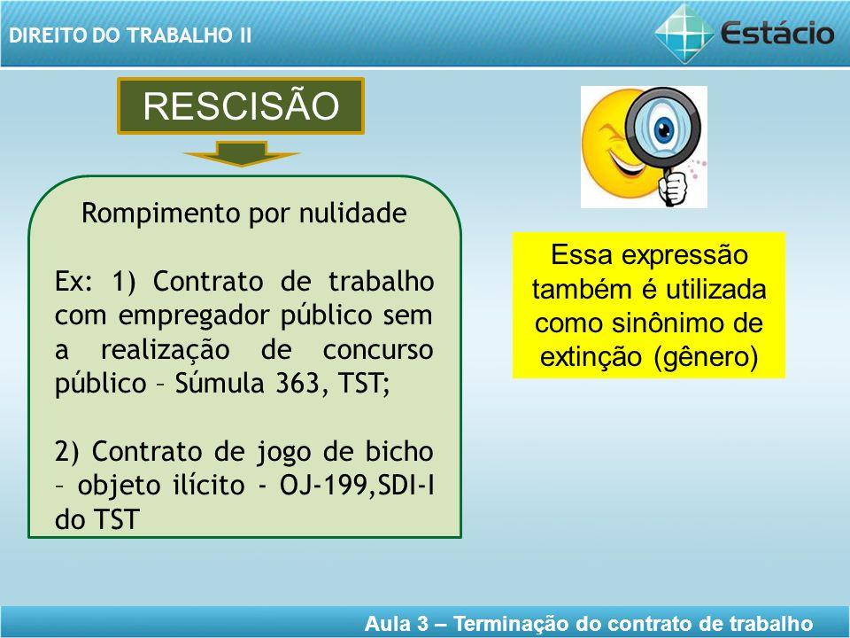 DIREITO DO TRABALHO II Aula 3 – Terminação do contrato de trabalho RESCISÃO Essa expressão também é utilizada como sinônimo de extinção (gênero) Rompi