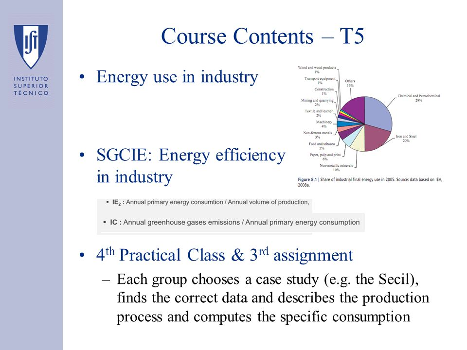 Energy use in industry SGCIE: Energy efficiency in industry 4 th Practical Class & 3 rd assignment –Each group chooses a case study (e.g. the Secil),