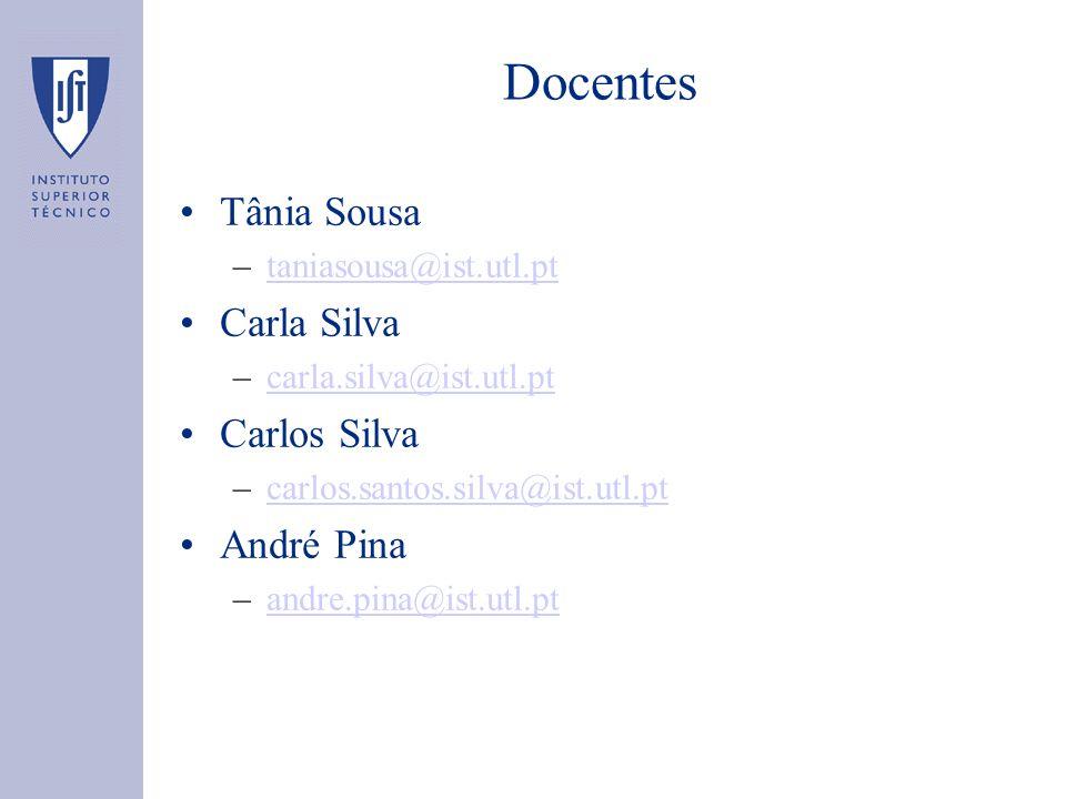 Docentes Tânia Sousa –taniasousa@ist.utl.pttaniasousa@ist.utl.pt Carla Silva –carla.silva@ist.utl.ptcarla.silva@ist.utl.pt Carlos Silva –carlos.santos