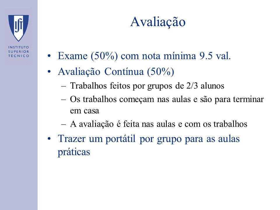 Avaliação Exame (50%) com nota mínima 9.5 val. Avaliação Contínua (50%) –Trabalhos feitos por grupos de 2/3 alunos –Os trabalhos começam nas aulas e s