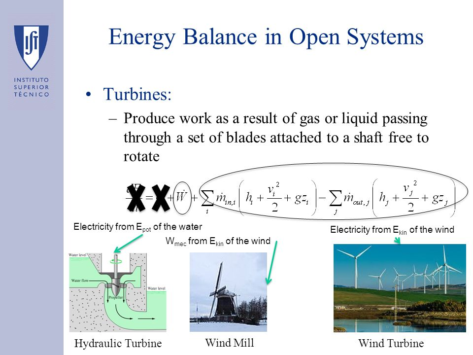 Turbines: –Produce work as a result of gas or liquid passing through a set of blades attached to a shaft free to rotate Energy Balance in Open Systems