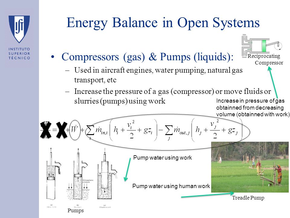 Compressors (gas) & Pumps (liquids): –Used in aircraft engines, water pumping, natural gas transport, etc –Increase the pressure of a gas (compressor)