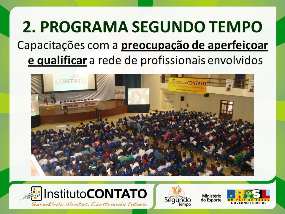 2. PROGRAMA SEGUNDO TEMPO Capacitações com a preocupação de aperfeiçoar e qualificar a rede de profissionais envolvidos