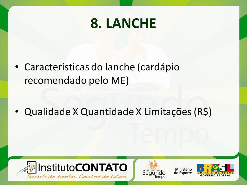8. LANCHE Características do lanche (cardápio recomendado pelo ME) Qualidade X Quantidade X Limitações (R$)