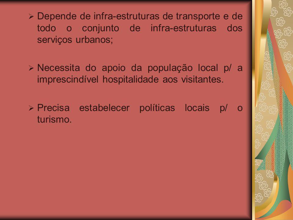 Depende de infra-estruturas de transporte e de todo o conjunto de infra-estruturas dos serviços urbanos; Necessita do apoio da população local p/ a imprescindível hospitalidade aos visitantes.
