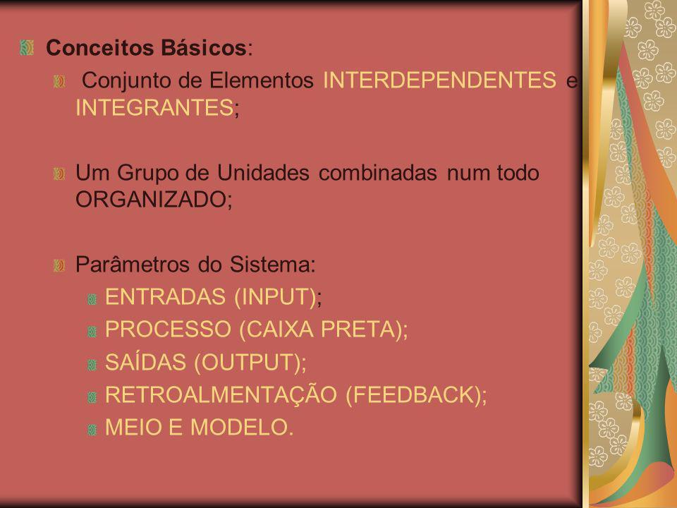 Conceitos Básicos: Conjunto de Elementos INTERDEPENDENTES e INTEGRANTES; Um Grupo de Unidades combinadas num todo ORGANIZADO; Parâmetros do Sistema: ENTRADAS (INPUT); PROCESSO (CAIXA PRETA); SAÍDAS (OUTPUT); RETROALMENTAÇÃO (FEEDBACK); MEIO E MODELO.