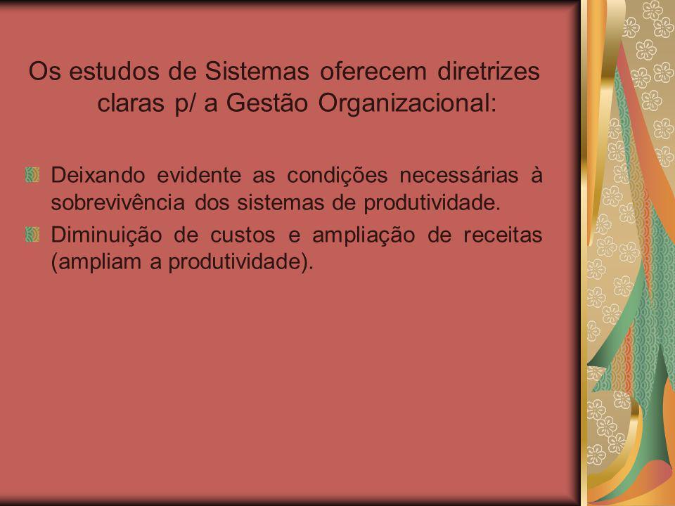 Os estudos de Sistemas oferecem diretrizes claras p/ a Gestão Organizacional: Deixando evidente as condições necessárias à sobrevivência dos sistemas de produtividade.