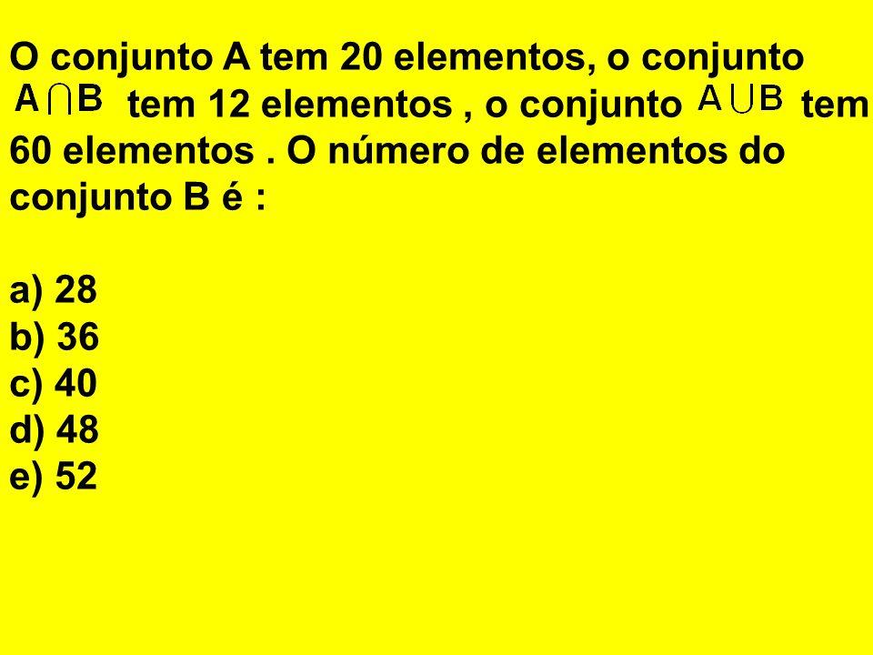 O conjunto A tem 20 elementos, o conjunto tem 12 elementos, o conjunto tem 60 elementos. O número de elementos do conjunto B é : a) 28 b) 36 c) 40 d)