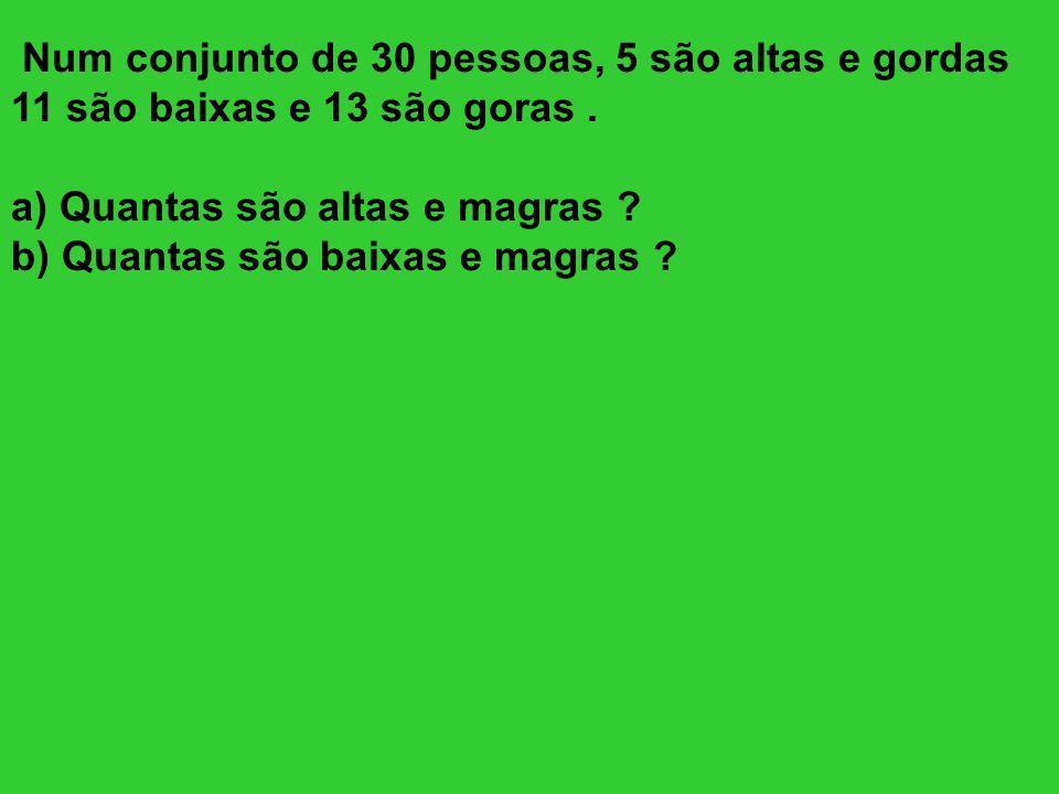 Num conjunto de 30 pessoas, 5 são altas e gordas 11 são baixas e 13 são goras. a) Quantas são altas e magras ? b) Quantas são baixas e magras ?