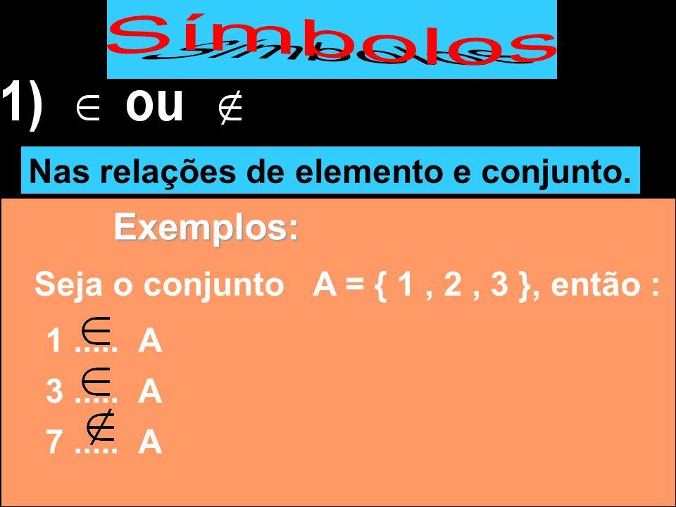 Nas relações de elemento e conjunto. Exemplos: Seja o conjunto A = { 1, 2, 3 }, então : 1..... A 3..... A 7..... A