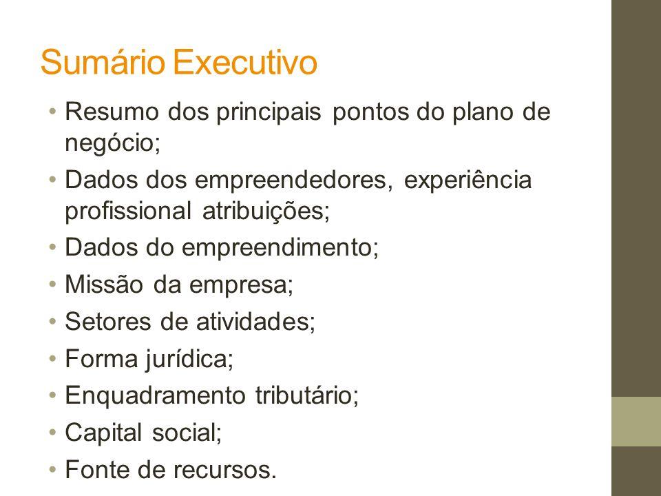 Sumário Executivo Resumo dos principais pontos do plano de negócio; Dados dos empreendedores, experiência profissional atribuições; Dados do empreendi