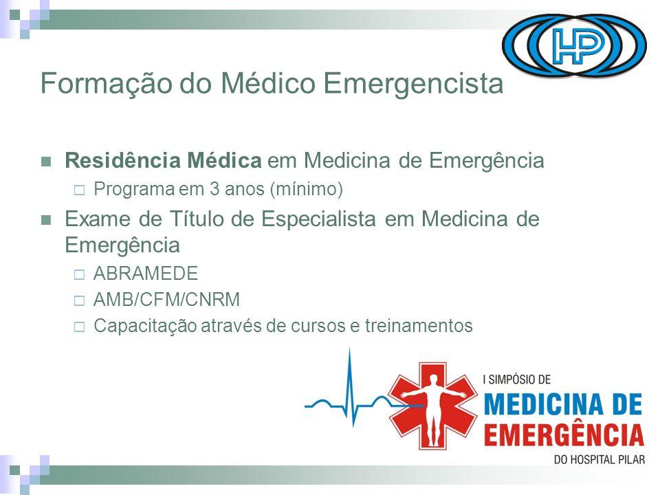 Formação do Médico Emergencista Residência Médica em Medicina de Emergência Programa em 3 anos (mínimo) Exame de Título de Especialista em Medicina de Emergência ABRAMEDE AMB/CFM/CNRM Capacitação através de cursos e treinamentos