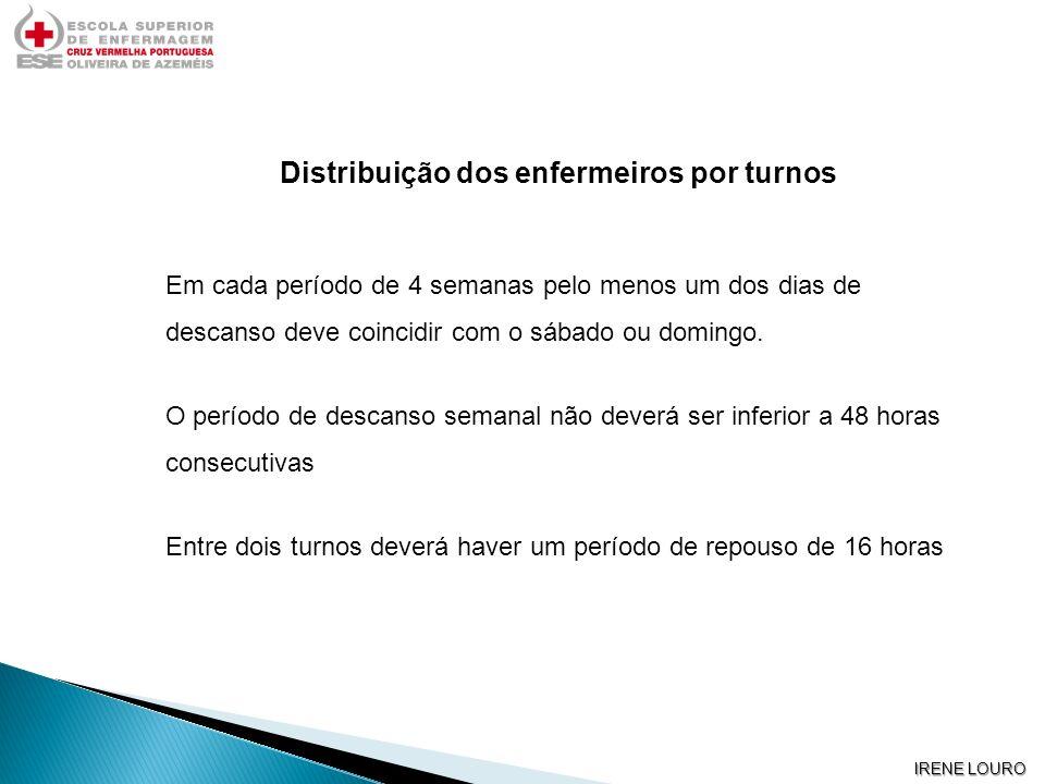 IRENE LOURO Distribuição dos enfermeiros por turnos Em cada período de 4 semanas pelo menos um dos dias de descanso deve coincidir com o sábado ou dom