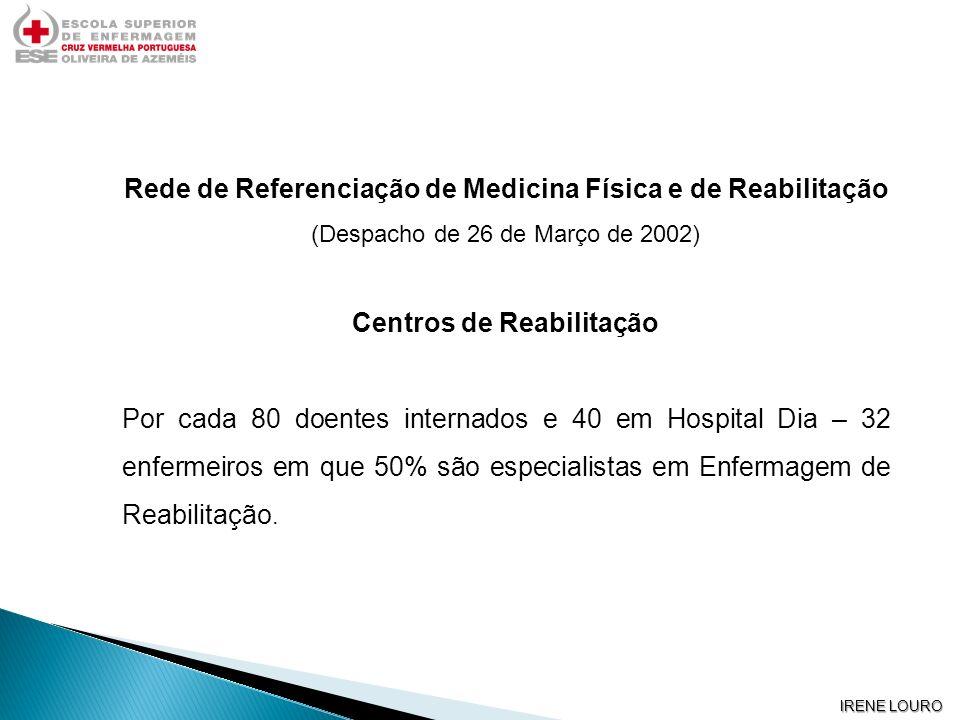 IRENE LOURO Rede de Referenciação de Medicina Física e de Reabilitação (Despacho de 26 de Março de 2002) Centros de Reabilitação Por cada 80 doentes i
