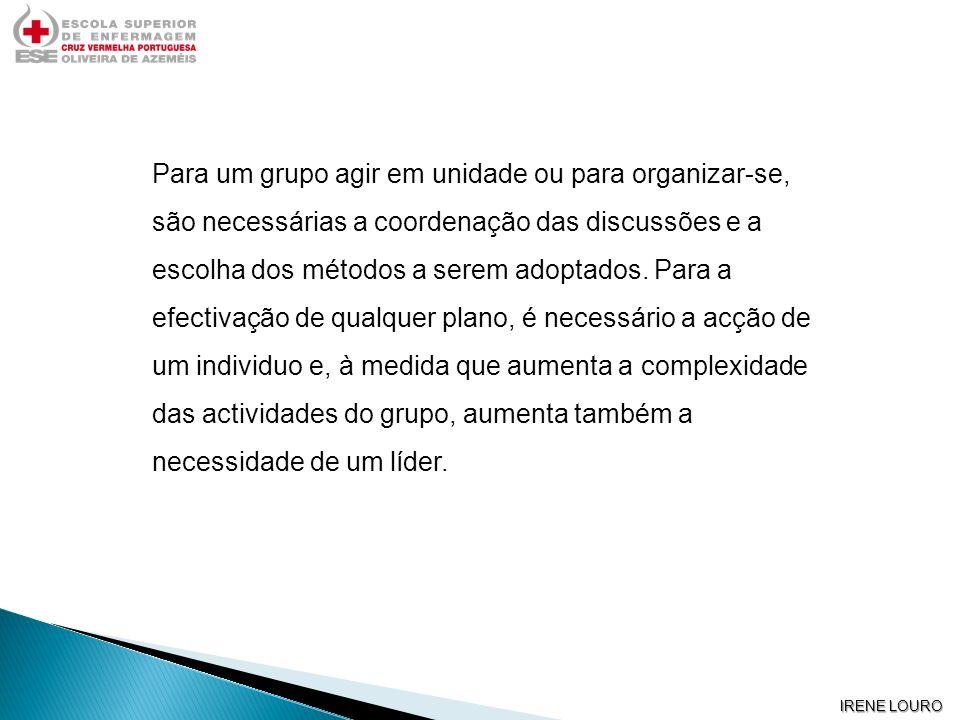 IRENE LOURO Para um grupo agir em unidade ou para organizar-se, são necessárias a coordenação das discussões e a escolha dos métodos a serem adoptados