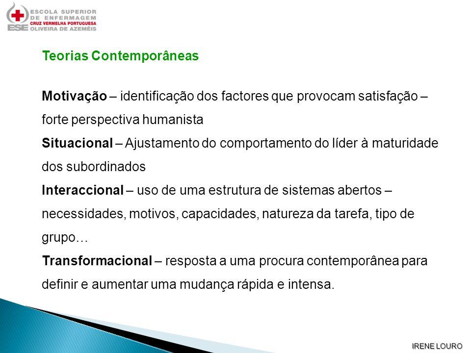 IRENE LOURO Teorias Contemporâneas Motivação – identificação dos factores que provocam satisfação – forte perspectiva humanista Situacional – Ajustame