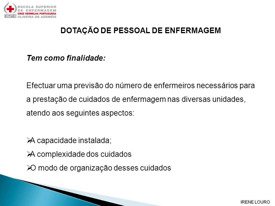 IRENE LOURO DOTAÇÃO DE PESSOAL DE ENFERMAGEM Tem como finalidade: Efectuar uma previsão do número de enfermeiros necessários para a prestação de cuida