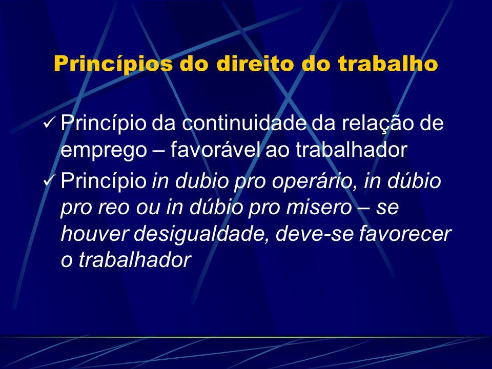 Princípios do direito do trabalho Princípio da continuidade da relação de emprego – favorável ao trabalhador Princípio in dubio pro operário, in dúbio