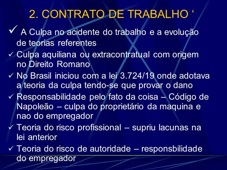 2. CONTRATO DE TRABALHO A Culpa no acidente do trabalho e a evolução de teorias referentes Culpa aquiliana ou extracontratual com origem no Direito Ro