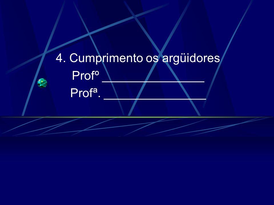 4. Cumprimento os argüidores Profº _______________ Profª. _______________