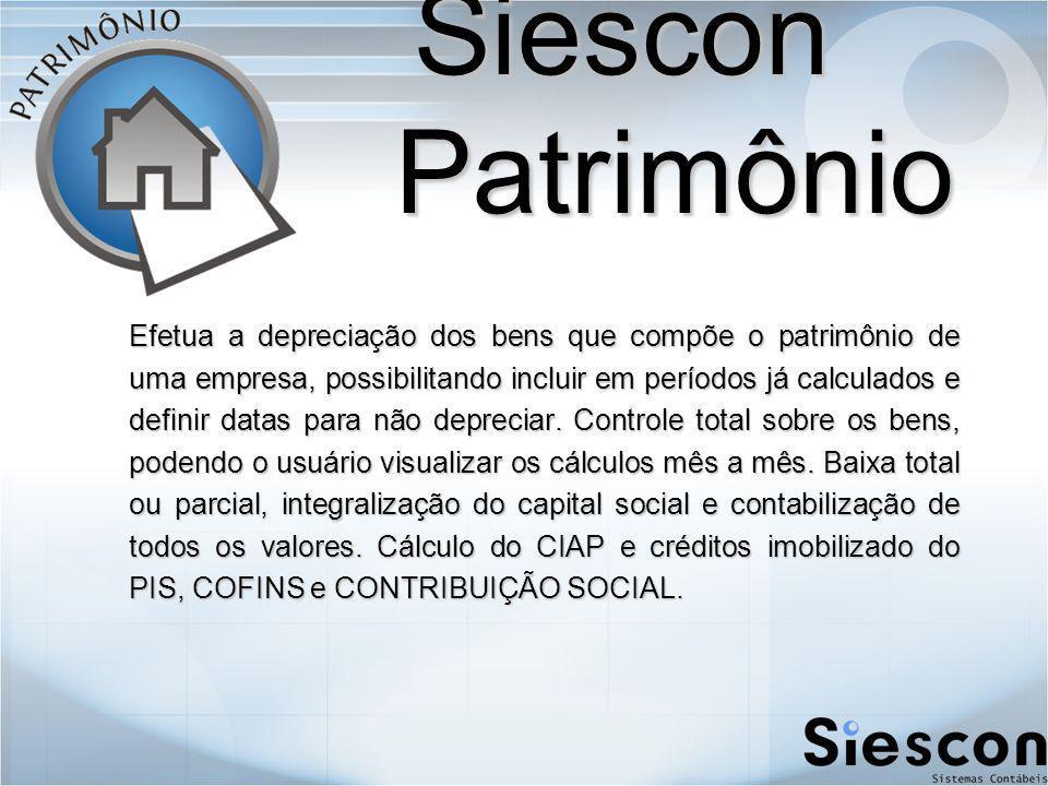 Siescon Patrimônio Efetua a depreciação dos bens que compõe o patrimônio de uma empresa, possibilitando incluir em períodos já calculados e definir datas para não depreciar.