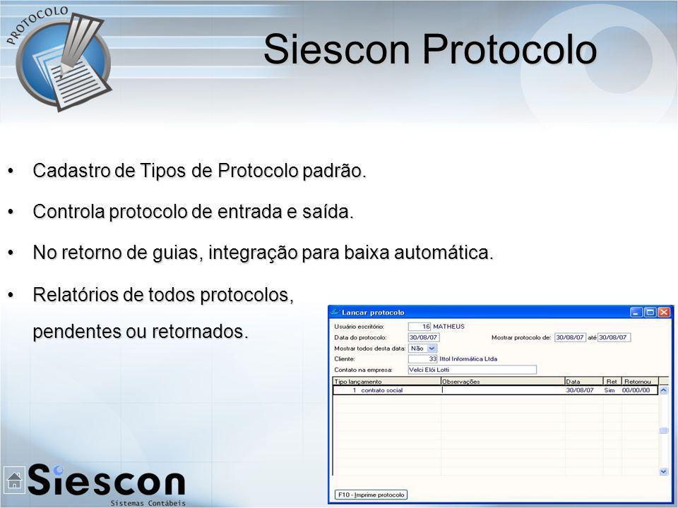 Cadastro de Tipos de Protocolo padrão.Cadastro de Tipos de Protocolo padrão.