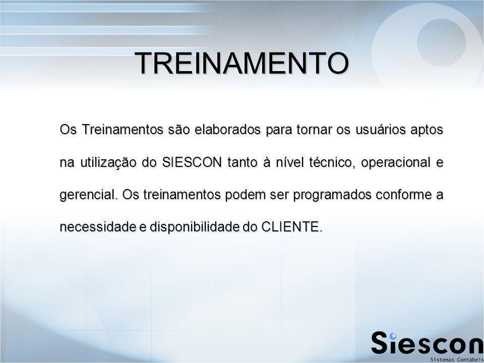 Os Treinamentos são elaborados para tornar os usuários aptos na utilização do SIESCON tanto à nível técnico, operacional e gerencial.