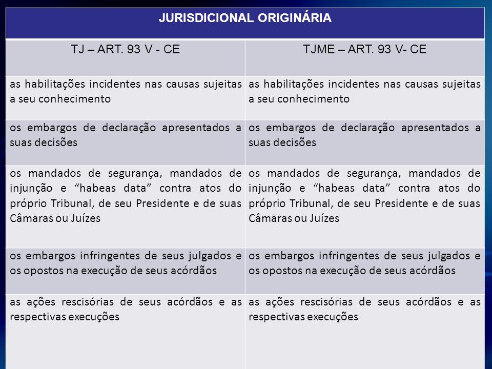 JURISDICIONAL ORIGINÁRIA TJ – ART. 93 V - CETJME – ART. 93 V- CE as habilitações incidentes nas causas sujeitas a seu conhecimento os embargos de decl