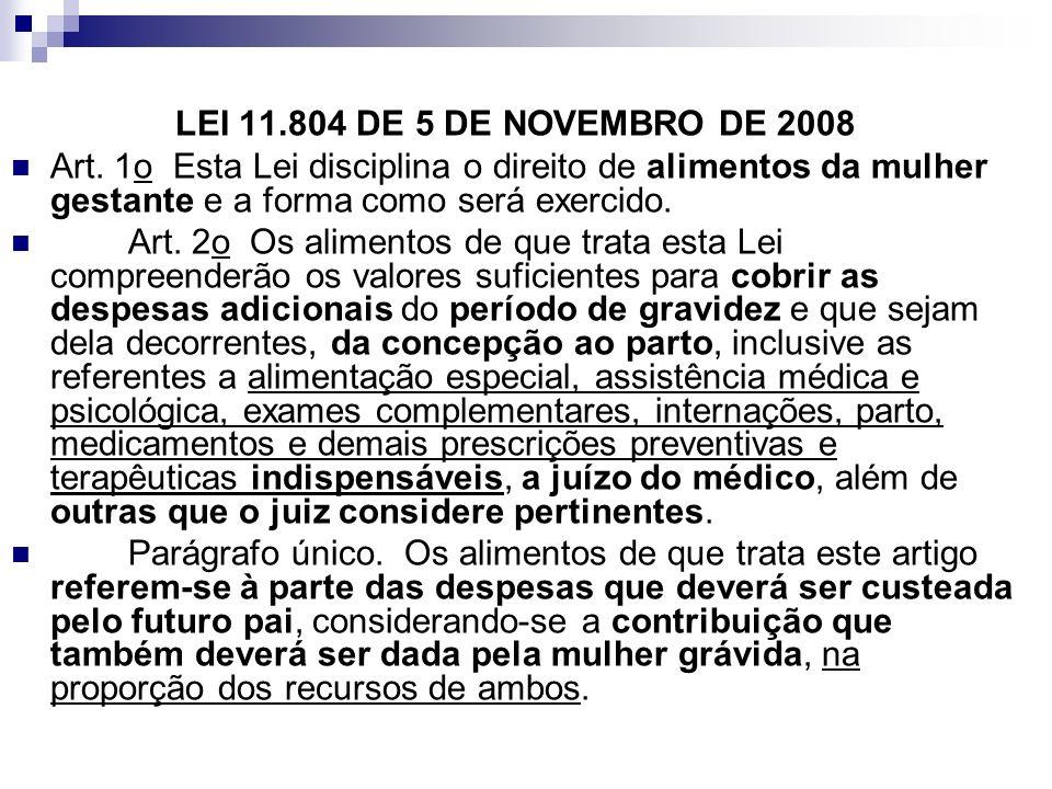 LEI 11.804 DE 5 DE NOVEMBRO DE 2008 Art. 1o Esta Lei disciplina o direito de alimentos da mulher gestante e a forma como será exercido. Art. 2o Os ali