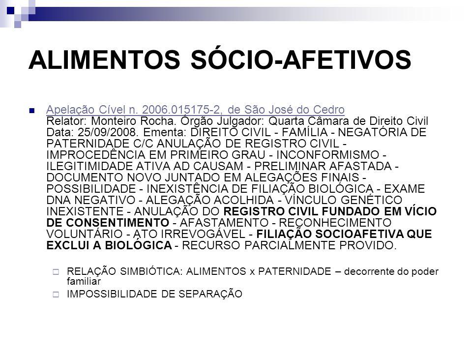 ALIMENTOS SÓCIO-AFETIVOS Apelação Cível n. 2006.015175-2, de São José do Cedro Relator: Monteiro Rocha. Órgão Julgador: Quarta Câmara de Direito Civil