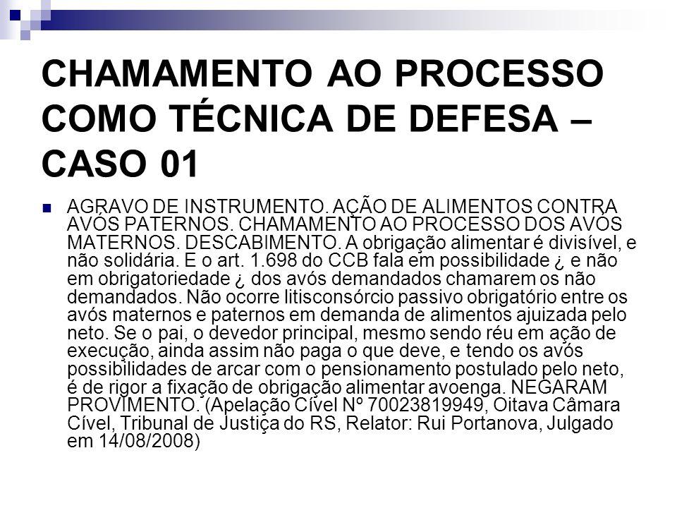 CHAMAMENTO AO PROCESSO COMO TÉCNICA DE DEFESA – CASO 01 AGRAVO DE INSTRUMENTO. AÇÃO DE ALIMENTOS CONTRA AVÓS PATERNOS. CHAMAMENTO AO PROCESSO DOS AVÓS