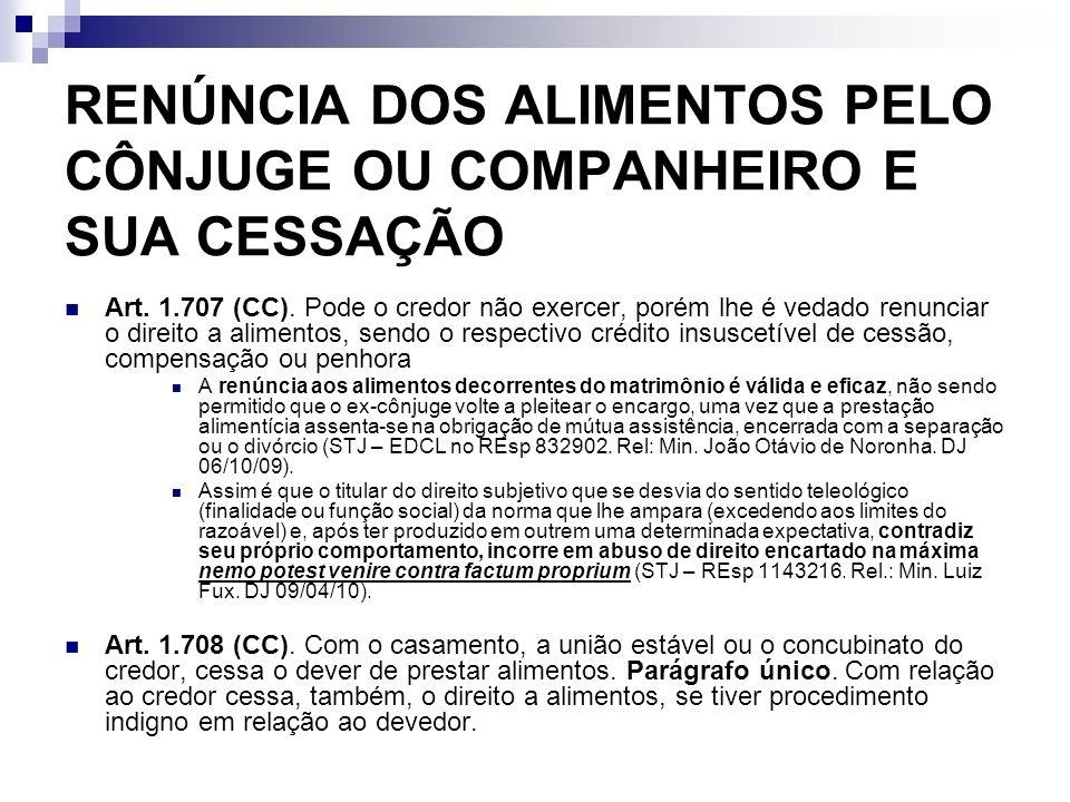 RENÚNCIA DOS ALIMENTOS PELO CÔNJUGE OU COMPANHEIRO E SUA CESSAÇÃO Art. 1.707 (CC). Pode o credor não exercer, porém lhe é vedado renunciar o direito a