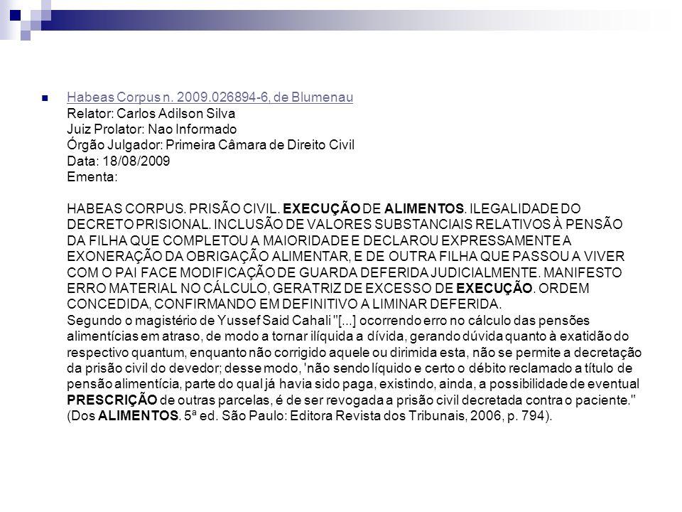 Habeas Corpus n. 2009.026894-6, de Blumenau Relator: Carlos Adilson Silva Juiz Prolator: Nao Informado Órgão Julgador: Primeira Câmara de Direito Civi