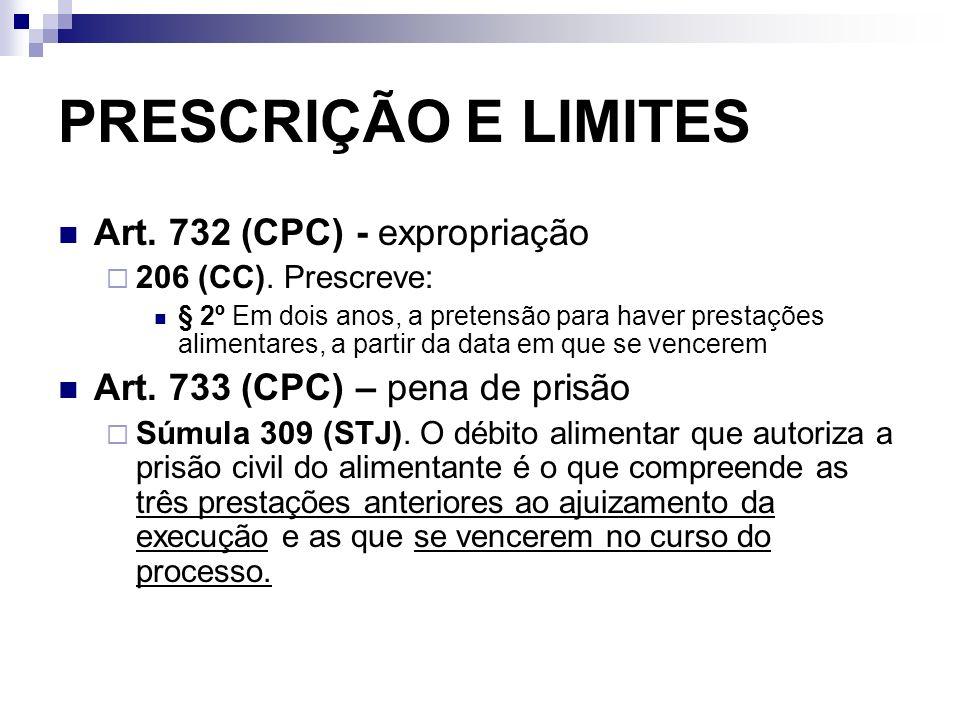 PRESCRIÇÃO E LIMITES Art. 732 (CPC) - expropriação 206 (CC). Prescreve: § 2º Em dois anos, a pretensão para haver prestações alimentares, a partir da