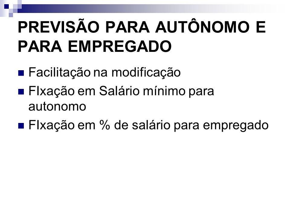 PREVISÃO PARA AUTÔNOMO E PARA EMPREGADO Facilitação na modificação FIxação em Salário mínimo para autonomo FIxação em % de salário para empregado