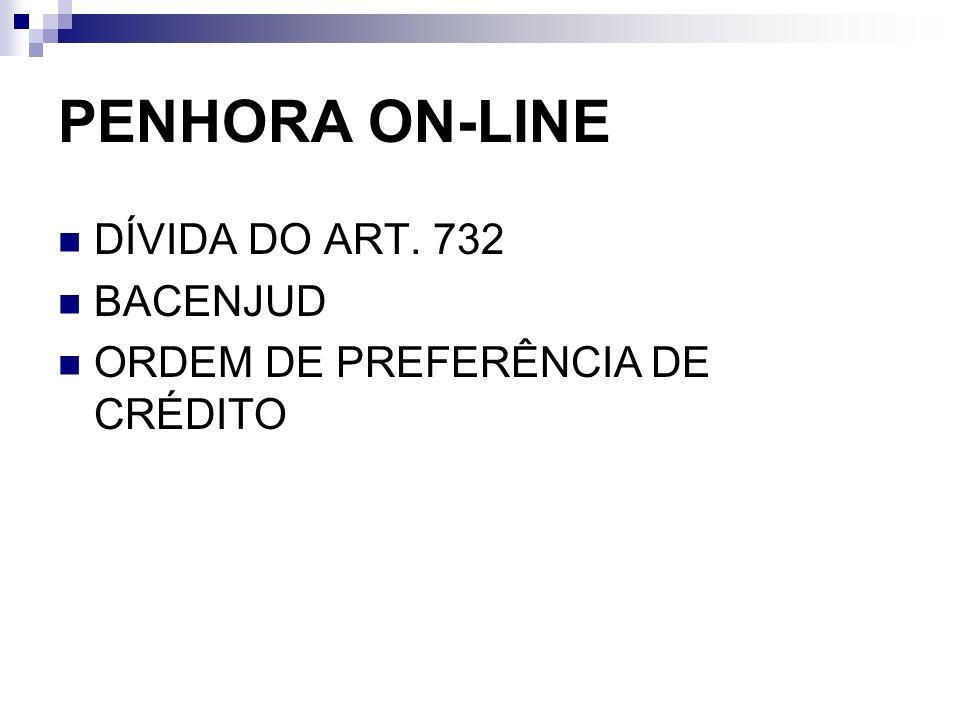 PENHORA ON-LINE DÍVIDA DO ART. 732 BACENJUD ORDEM DE PREFERÊNCIA DE CRÉDITO