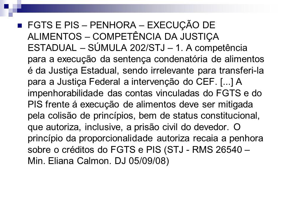 FGTS E PIS – PENHORA – EXECUÇÃO DE ALIMENTOS – COMPETÊNCIA DA JUSTIÇA ESTADUAL – SÚMULA 202/STJ – 1. A competência para a execução da sentença condena
