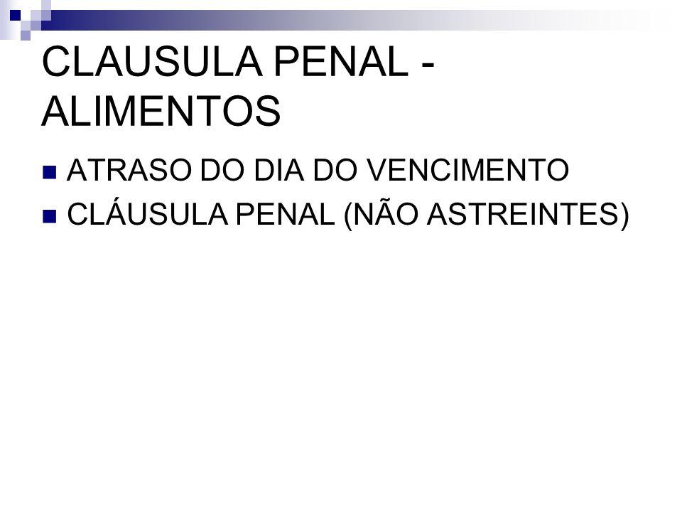 CLAUSULA PENAL - ALIMENTOS ATRASO DO DIA DO VENCIMENTO CLÁUSULA PENAL (NÃO ASTREINTES)
