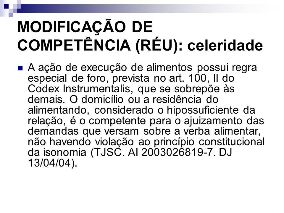 MODIFICAÇÃO DE COMPETÊNCIA (RÉU): celeridade A ação de execução de alimentos possui regra especial de foro, prevista no art. 100, II do Codex Instrume