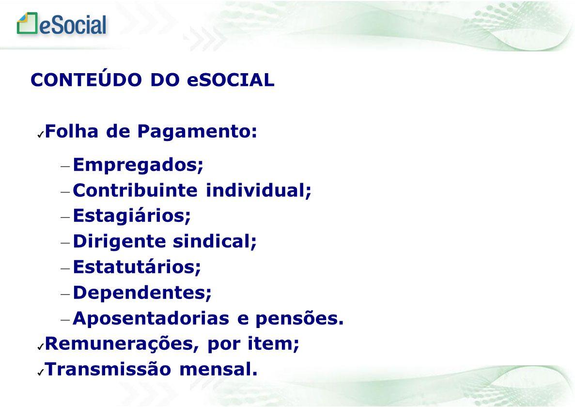Folha de Pagamento: – Empregados; – Contribuinte individual; – Estagiários; – Dirigente sindical; – Estatutários; – Dependentes; – Aposentadorias e pe