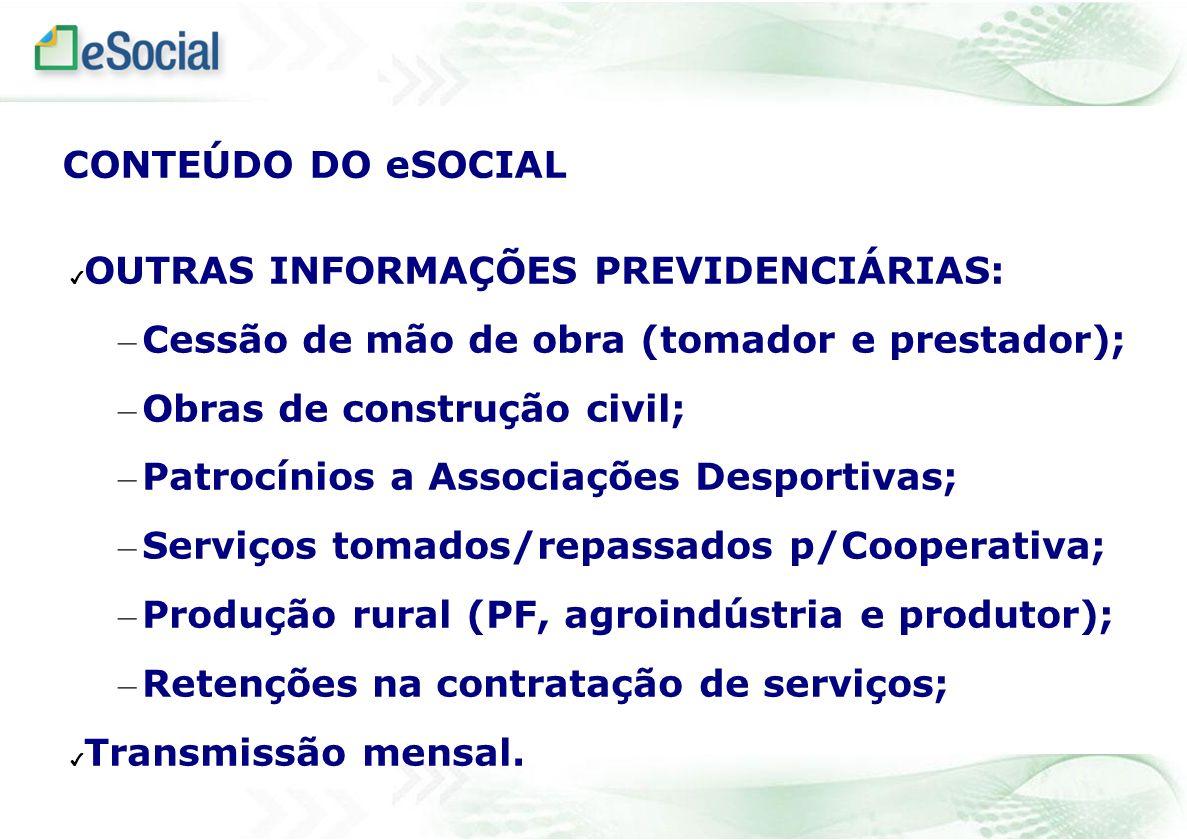 OUTRAS INFORMAÇÕES PREVIDENCIÁRIAS: – Cessão de mão de obra (tomador e prestador); – Obras de construção civil; – Patrocínios a Associações Desportiva
