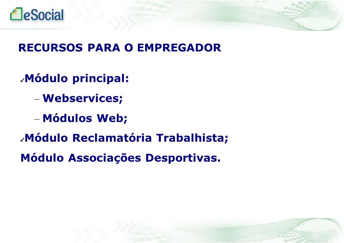 Módulo principal: – Webservices; – Módulos Web; Módulo Reclamatória Trabalhista; Módulo Associações Desportivas. RECURSOS PARA O EMPREGADOR