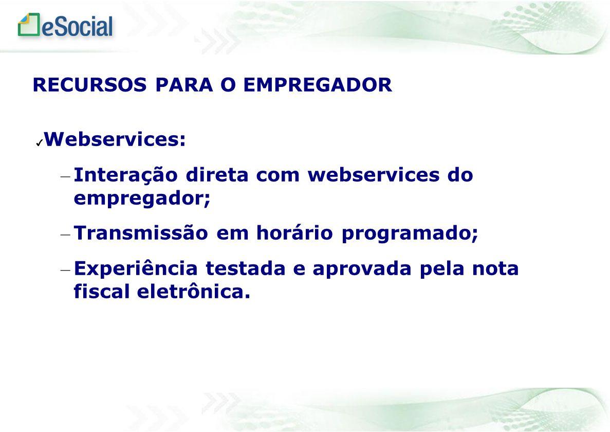 Webservices: – Interação direta com webservices do empregador; – Transmissão em horário programado; – Experiência testada e aprovada pela nota fiscal